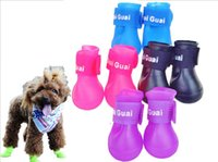 anti skid socks - Dog Shoes Pet Boots Puppy Candy Color Booties Waterproof Rubber Anti slip Skid PVC Pet Rain Shoes
