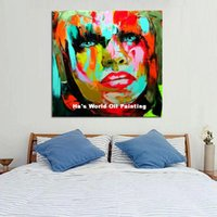 best portrait paintings - Handpainted Human Portrait Best Quality Oil Paintings Modern Abstract Colorful Art Wall Pictures Fashion Lady On Canvas