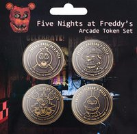 Wholesale Five Nights at Freddy Teddy bear harem anime characters around midnight Ferretti BROOCH BADGE four gold coin collection