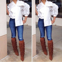 big puff - S XL white big bow fall style women polyester blouse V neck casual puff sleeve womens shirt blouses