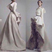 autumn fonts - Krikor Jabotian Long Sleeves Wedding Dresses Short Font Long Back Grey Feather Satin Open Back Bridal Gowns Custom Made