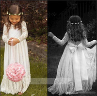 baby girls first christmas dress - 2015 Cheap Long Sleeve Lace Flower Girl Dresses Jewel White A line Floor Length Baby Formal Occasion Skirt First Communion Bridal Gowns Cute