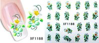 artificial pens - Freeshipping Hot Artificial flower nail stickers nail stickers watermark row of pens flower bloom flowers bright and colorful