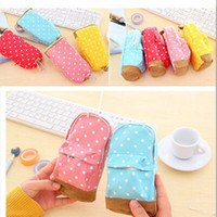 Wholesale Multifunctional Large Capacity Pencil Case Dot School Bag Pattern Cute Storage Case