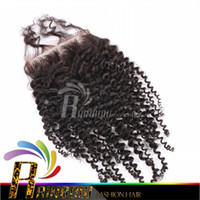 Wholesale Cheap Brazilian curly lace closure Top Closures Piece kinky curly hair closures no shedding no tangle