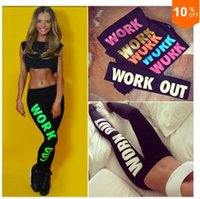 Wholesale New Women Harajuku Work Out Letter Print Black Casual Sexy Sportswear Fitness Bottom Running Exercise Gym Leggings