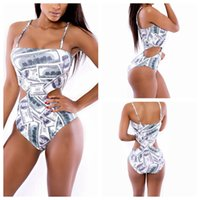 paper money - 2015 New sexy hollow out swimwear high waist vintage Swimsuit for women one pieces Print Paper Money bikini bathing suits beachwear YH7056