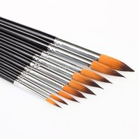 Wholesale Artists Paint Brush Set Round Pointed Tip Nylon Hair Watercolor Acrylic Brush order lt no track