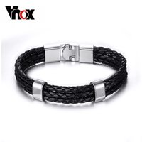 Wholesale Kinds Tops For Men - Top selling men leather bracelets stainless steel 3 kinds length bracelets&bangles for men leather jewelry free shipping Christmas party gif