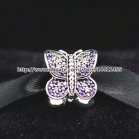 Wholesale 925 Sterling Silver Thread Sparkling Butterfly Charm Bead with CZ Fits European Pandora Jewelry Bracelets Necklaces Pendants