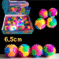 Wholesale Fun Finger Multi Color Flashing Light Up Spiky Rubber Bouncy Stress Ball Sensory Fidget Kids Toy Amusement Activity Gifts Decor