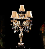 Wholesale crystal table light with fabric shade vintage candelabra light modern fashion living room table lamps bedroom table light lamp desk lights