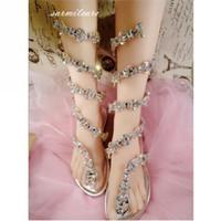 Wholesale 0489 Snake Shape Women Flat Sandals with Shinning Rhinestones Fashion Gladiator Flip Flops Customized Women Flips