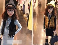 Waistcoat children tank tops - 2015 New Girl Sleeveless Tassel Tops Cardigan Children Clothing Child Tank Top Kids Clothes Kid Fringe Vest Jacket Spring Summer Brown Black