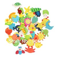 Wholesale New Arrival Colorful Wooden Cartoon Refrigerator Magnets for Children Various Shapes and Colors