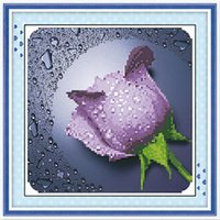 cross stitch fabric - fabric Cross Stitch Rectangle Purple Flower Pattern cm x cm Box new