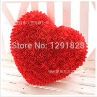Wholesale 2014 New Beautiful Red Pink Rose Roses Pillow Heart shaped Pillow Romantic Valentine s Day Gift Wedding Gift Birthday Gift