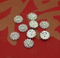 Wholesale 50pcs mm Round Flower Metal Rhinestone Button Wedding Embellishment Crafting DIY Accessory Factory Direct