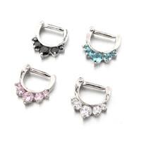 Wholesale 10Pcs L Surgical Steel Round Five Gemmed Princess Nose Ring Septum Clicker Gauge g