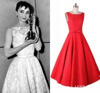 Wholesale Rockabilly s Style Short Party Dresses Vintage Lace Audrey Hepburn Swing Dress Beatu Neckline Tea Length Prom Evening Gowns