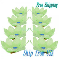 aqua paper lanterns - Ship From USA Paper Lotus lantern Flower Wishing Light Aqua
