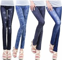 Wholesale Sexy Girls Tight Wear - Hot spring autumn wearing fashion faux Denim Jeans leggings women girl Sexy Jeggings Tights Skinny Pants Jeans Legging bottoms 500pcs