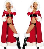 Women animation equipment - Large size women s clothing Europe and sexy long section of Christmas Christmas Queen Robe Sexy Lingerie animation and game equipment