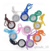 Wholesale New Silicone Medical Nurse Watch Candy Color Fob Watch Silicone Doctor Watch Hanging Watches Multi color Nurse necklace watch DDA2931