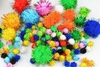 ball confetti - 10mm mm Multicolor glitter soft fluffy pom pom ball with metallic yarn pompoms ball for confetti Craft DIY