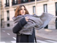 Cheap Female air conditioning large cape dual black and white houndstooth scarf ultralarge yarn female long thick 200*80cm