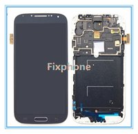 Wholesale For Samsung Galaxy S4 i9500 i9505 I545 I337 M919 L720 R970 White blue Touch LCD Screen Digitizer assembly Frame Replacement Free DHL