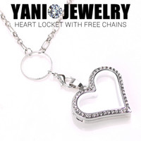 alloy heart locket - Crystal Heart Floating Locket Necklace Alloy Heart Memory Locket with Free Chain Mix Colors