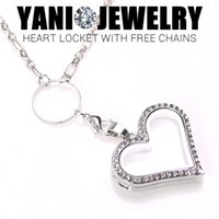 alloy heart locket - Rhinestone Heart Floating Locket Necklaces Alloy Heart Memory Lockets with Free Chain Mix Colors