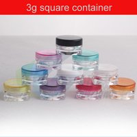 Wholesale 3g DIY small square sample cream plastic transaprent bottle jar pot container with colored lid for cosmetic packaging