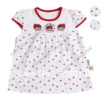 Cheap Sweet Cut Baby Girl Short Sleeve Dress Cherry Print Princess Loose Baby casual Dress Clothes 3 Sizes 2 Colors 14364