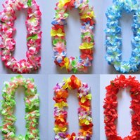 artificial christmas wreath - Party Wedding Christmas Supplies Hawaiian Flower Lei Garland Wreath Artificial Necklace Candy Colors N0922
