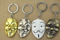 Wholesale V for Vendetta Movie theme Mysterious wack mask Keychain Ring Exquisite fashion Pendants Hangings Color
