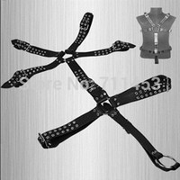 adult full body costume - Men Full Body Harness Leather Suit Costume With Penis Cocking Ring Adult Sex Products Fetish Systemic Set Harness