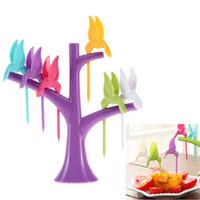 Wholesale Fashion Design Hot Sale New Arrival Design Plastic Fruit Fork Birds Fork Cutlery Set