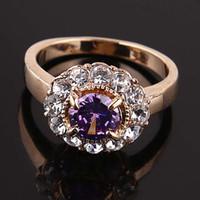 al por mayor promoción de la moda-Productos al por mayor para promover los anillos de bodas 18K Ventas cristalino austríaco plateado oro de la joyería de la manera de las mujeres