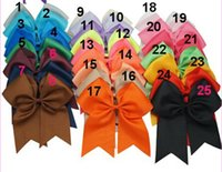 Wholesale 15 off hot sale Inch Large Cheer Bow Handmade Grosgrain Ribbon Cheer Bow With Elastic Band Girls Hair Accessories