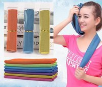 compressed towel - Gifts package Cold Towel Summer Sports Ice Cooling Towel Double Color Hypothermia cool Towel cm for sports children Adult