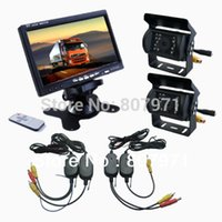 """Cheap 2 x CCD REVERSING CAMERA + 7"""" LCD MONITOR WIRELESS BACKUP SYSTEM REAR VIEW KIT for bus car"""