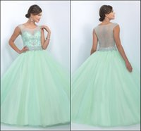 Wholesale Mint Gorgeous Rhinestones Quinceanera Dresses New Sheer Scoop Neck Ruffles Tulle Fashion Sweet Masquerade Ball Gowns SL10