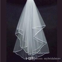 Wholesale 2015 White Ivory Champagne New Arrival Cheap Real Image Wedding Bridal Stain Ribbon Edge Tulle Accessories Women s Comb Veils Hot