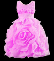 Wholesale 2015 sweet hand made three dimensional rose flower girls princess dress children s party dress sleeveless formal dress kids ball gown