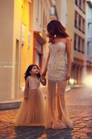 Wholesale 2015 Lovely Mother and Daughter Dress Hot Selling Short Ball Gown Mermaid Prom Dress Party Dress Family Clothing Family Dress Alikes