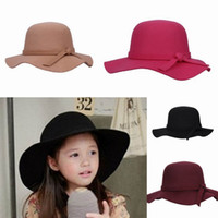 Cheap Lovely Children Girl Faux Wool Felt Hats Vintage Wide Brim Caps Outdoor Casual Travel Hats Colors Choose EKO*1