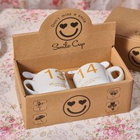 Wholesale A051 smile cartoon cup ceramic cup Korean couple cups milk glass shop yuan distribution center