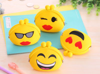 Wholesale Korean cartoon expression show zero wallet bag Headset funny waterproof silicone coin bag